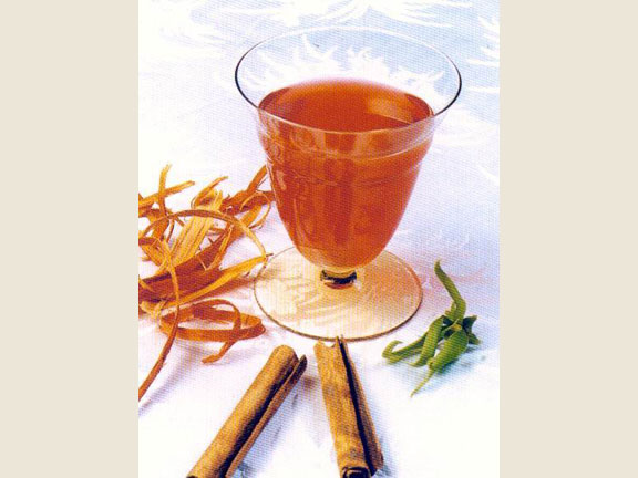 Wedang Secang, a drink made of Secang wood, ginger, cinnamon, and cloves.Source: Yul Adriansyah in Chamamah Soeratno, et.al. (eds.), 2002. Kraton Jogja: The history and cultural heritage.